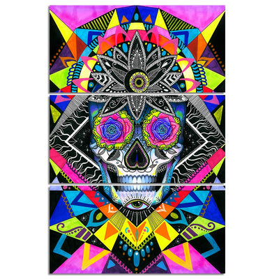 Sugar Skull by Pixie Cold - 3 Pc Canvas