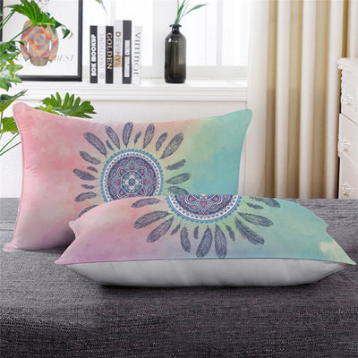 Mandala Pink and Blue Soft Down Alternative Pillow