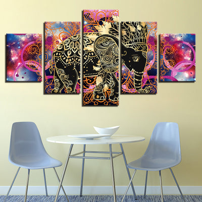 Native Indian Elephant 5 Panel HD Canvas *FREE SHIPPING*