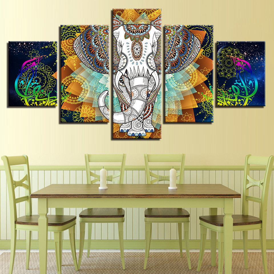 Indian Elephant 5 Panel Wall Decor *FREE SHIPPING* - Top Selling World