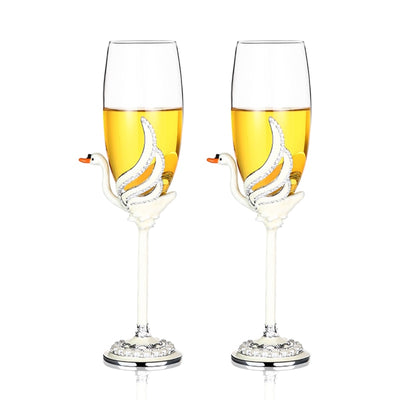 *2PC'S SET* Crystal Swan Champagne Glass *WORLDWIDE FREE SHIPPING*