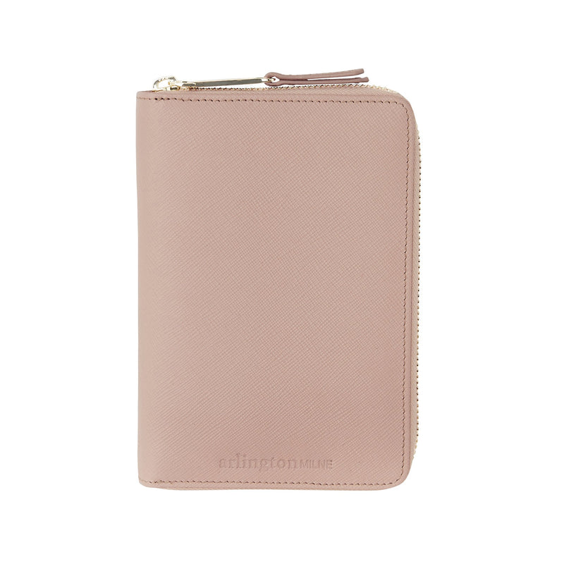 Leather Zipper Closure Wallet - Nude