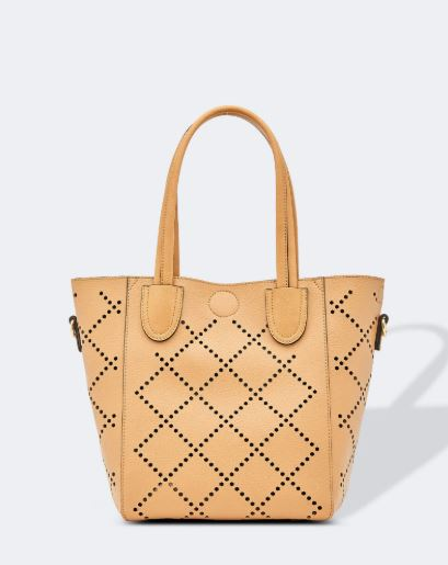 Diamond Laser Cut Bag in Camel