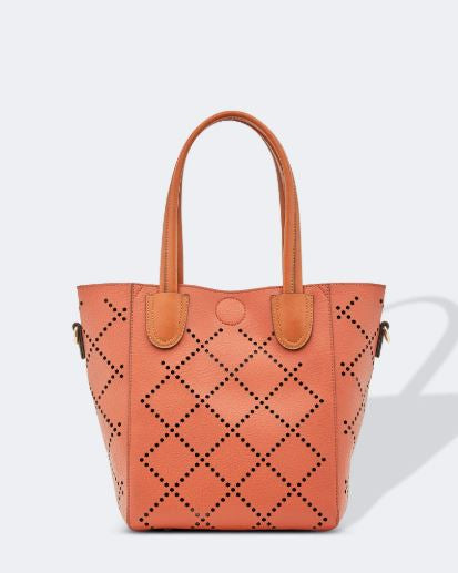 Diamond Laser Cut Bag in Clay