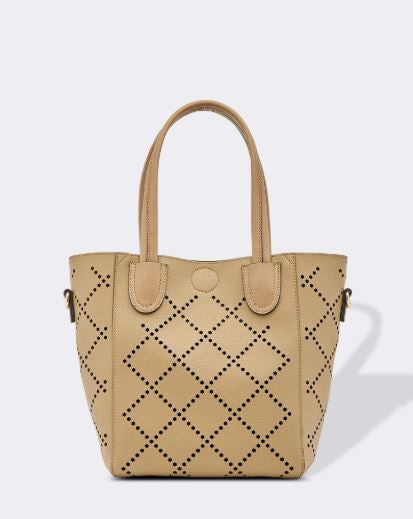 Diamond Laser Cut Bag in Khaki