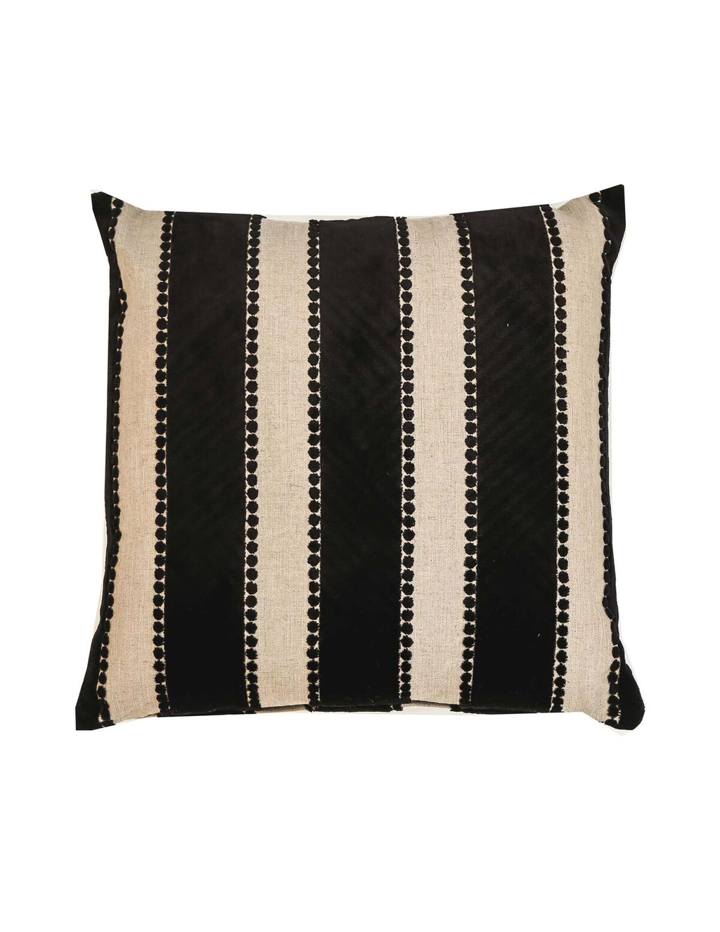 Signature Striped Black and White Cushion