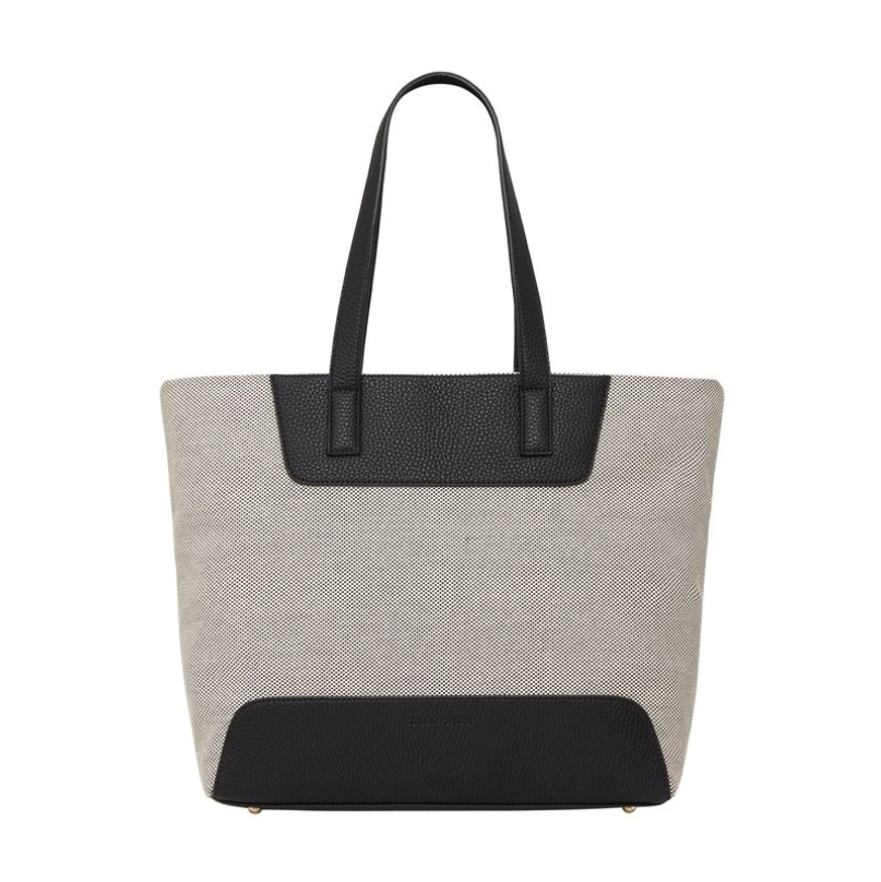 Zip Tote in Black and Canvas