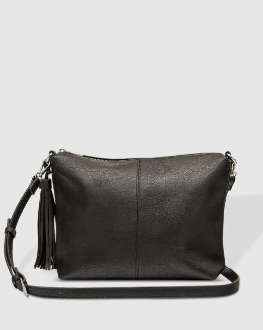Slouch Bag with Tassel in Black