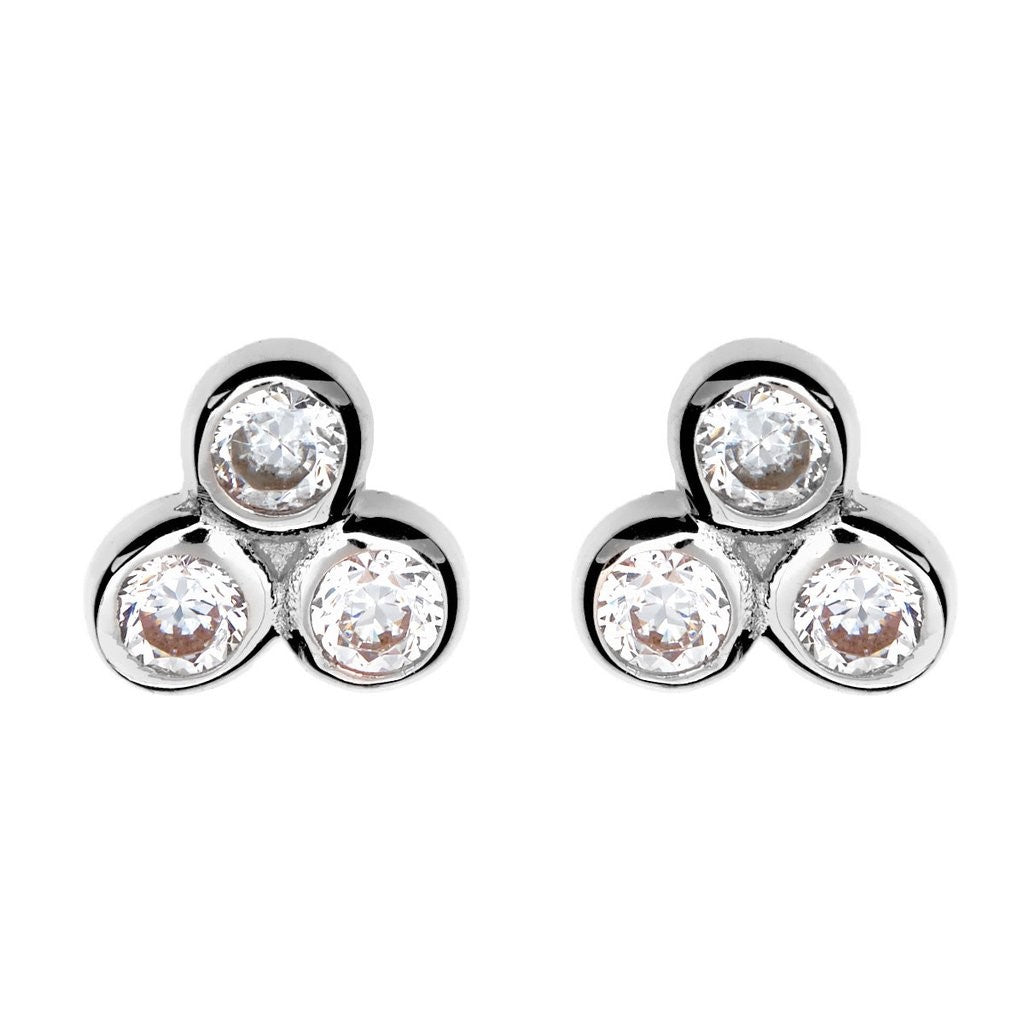 Tri Cubic Zirconia Stud Earrings