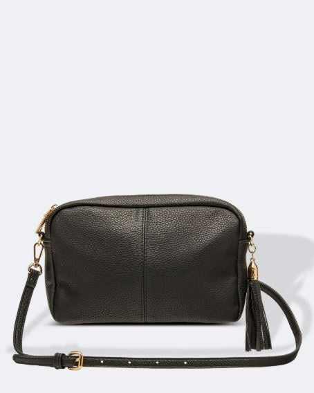Crossbody Bag with Tassel in Black