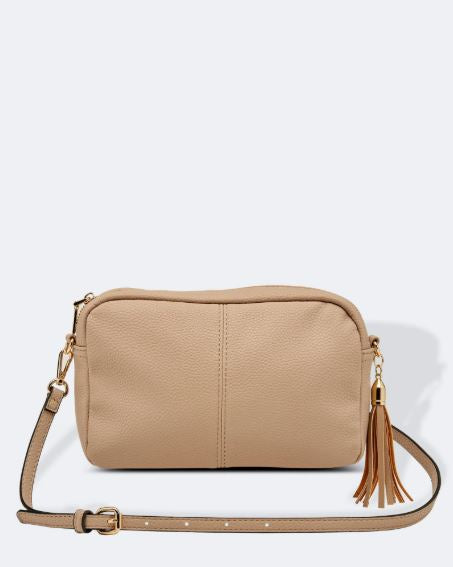 Crossbody Bag with Tassel in Putty