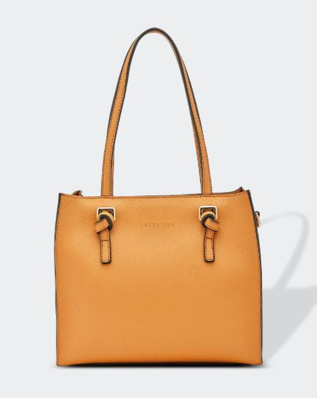 Vegan Leather Knotted Handle Handbag in Honey