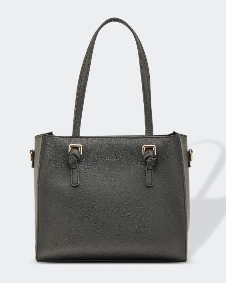 Vegan Leather Knotted Handle Handbag in Black