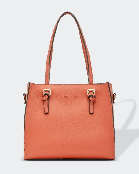 Vegan Leather Knotted Handle Handbag in Rust