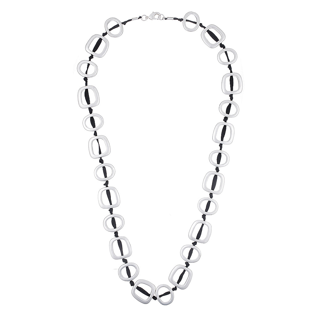 Silver Circle Design Cord Necklace