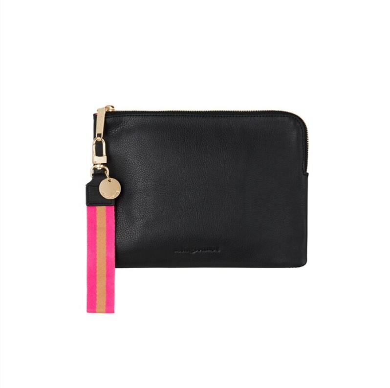 Wristlet Clutch in Black Leather