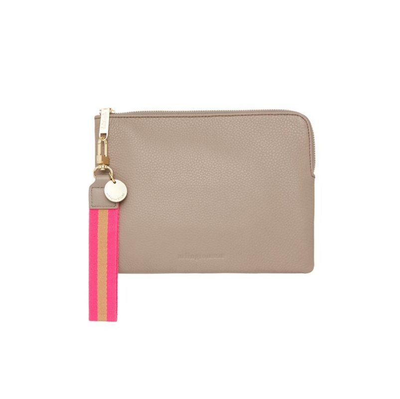Wristlet Clutch in Putty Leather