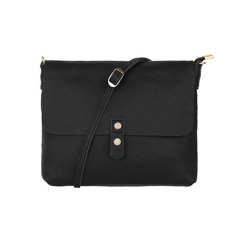 Chain Detail Crossbody in Black Leather