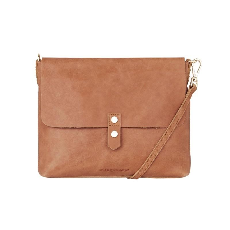 Chain Detail Crossbody in Tan Leather