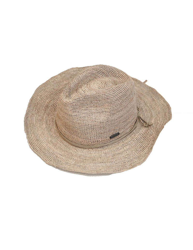 Raffia Hat with Leather trim