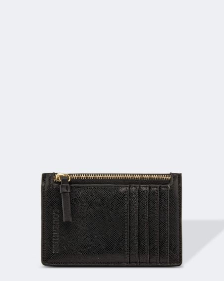 Cardholder in Black Textured Vegan Leather