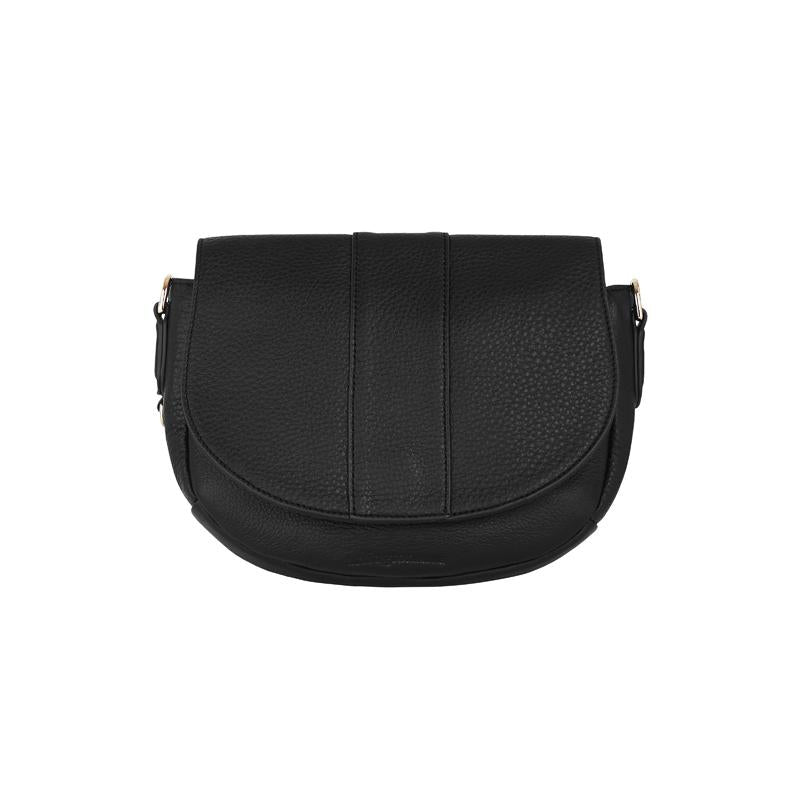 Crossbody Saddle Bag in Black Leather