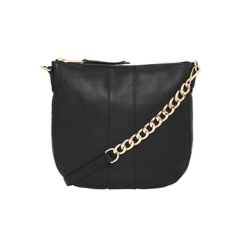 Chain Detail Tote in Black Leather