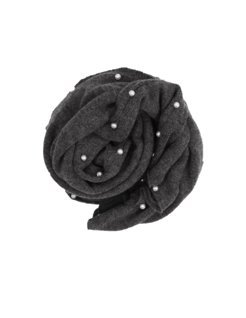Cashmere Topper - Charcoal with Pearls