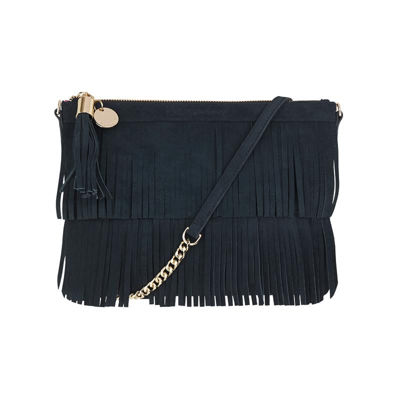 Fringed Clutch in Suede - Black