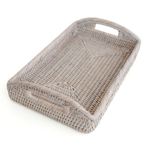 Rattan White Wash Baby Tray
