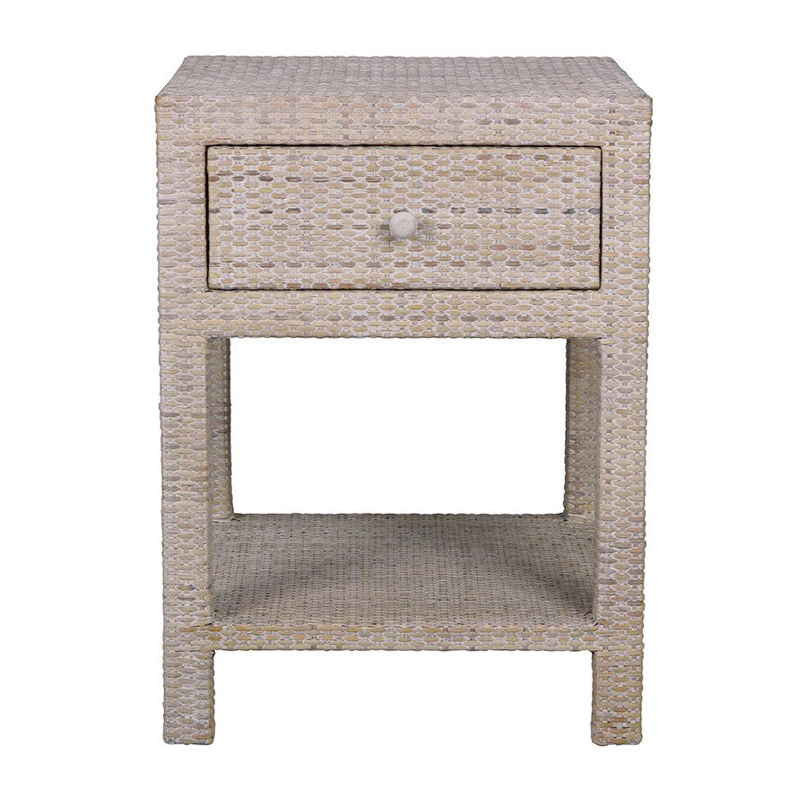White Wash Bedside Table