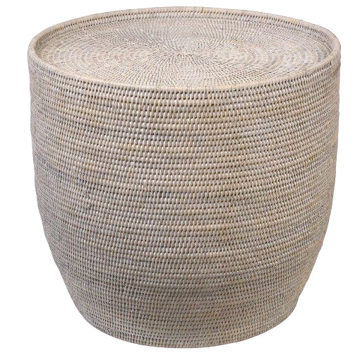 Rattan Round Side Table with Glass