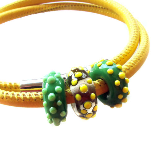 Art Glass on Yellow Leather Cord ♥ Handcrafted Lampwork Bead (3)