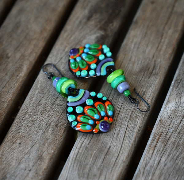 Gypsy Queen - Multicolored Boho Chic lightweight Earrings including Lampwork Beads
