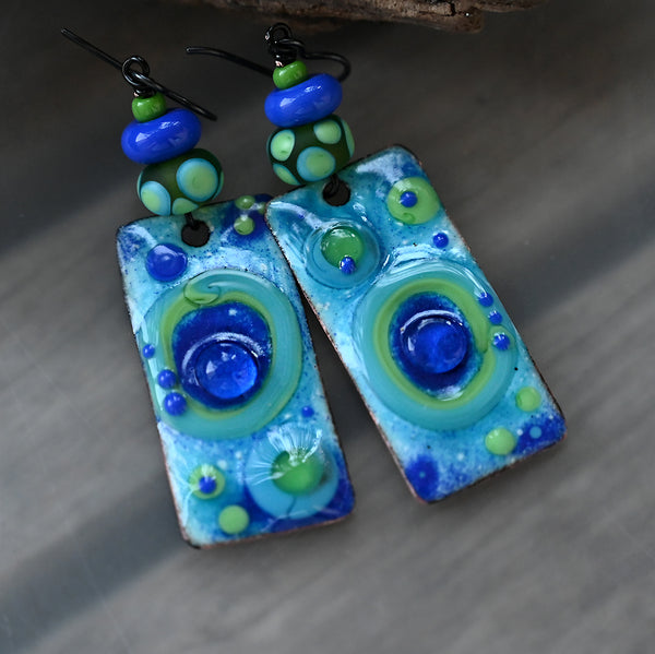 Ocean Blue ♥ Multicolored Boho Chic lightweight Earrings including Lampwork Beads