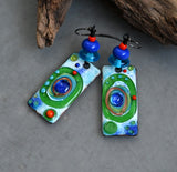 Retro Mod ♥ Multicolored Boho Chic lightweight Earrings including Lampwork Beads