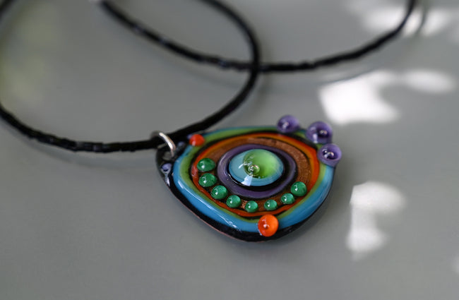 Aurora ♥ Lightweight Copper Art - Lampwork Necklace