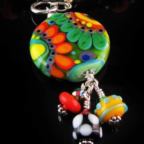 Flower  - Boho Chic - Lampwork Necklace