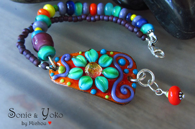 SOLD! RESERVED for *Nosewhite* ♥ Flower Power - Lightweight Copper Art Bracelet