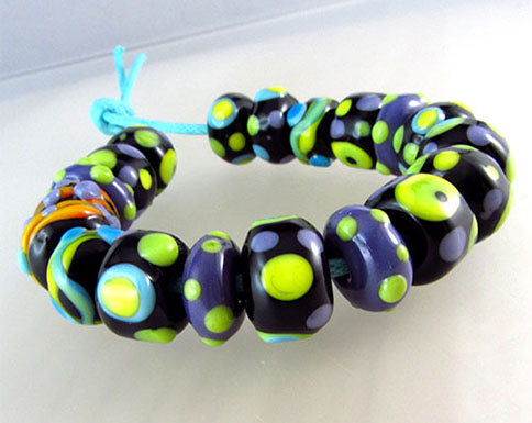 LAMPWORK SPACER BEADS - Polka Dot - 10 lampwork beads
