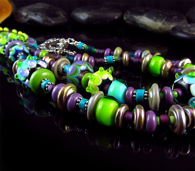 Aurora - BOHIO CHIC - LAMPWORK PENDANT NECKLACE - MURANO GLASS