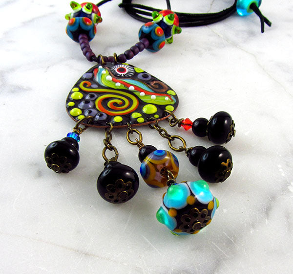 BOHIO CHIC - LAMPWORK PENDANT NECKLACE - MURANO GLASS