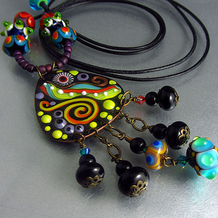 Crazy Chicken ♥ Handcrafted Lampwork Necklace
