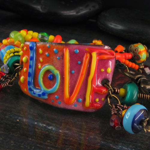 Love - Boho Chic, Lightweight Copper Art Bracelet including lampwork beads