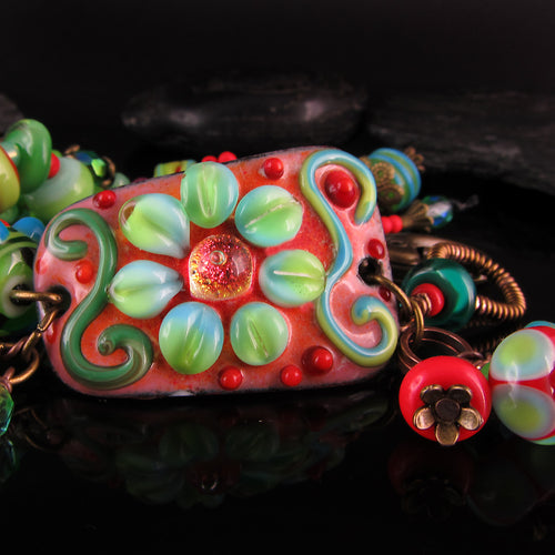 Flower Queen - Boho Chic, Lightweight Copper Art Bracelet including lampwork beads