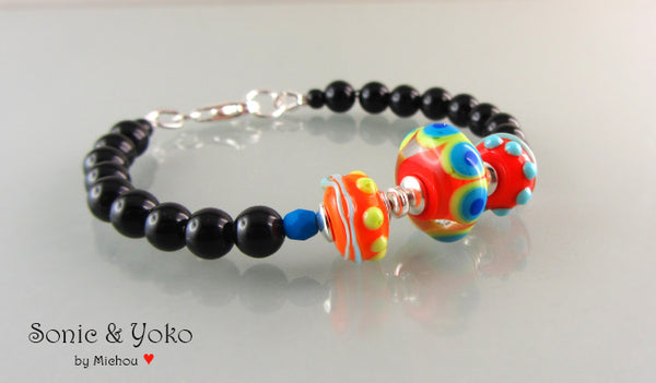 Lampwork Bracelet *Orange/Red with Dots*