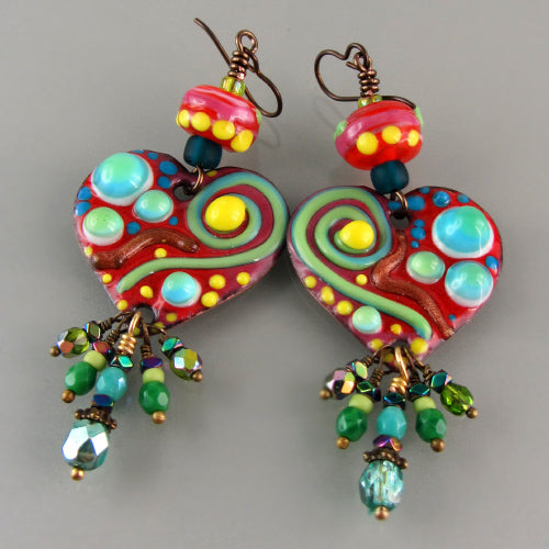 Boho Chic - Enameled Copper Art Earrings