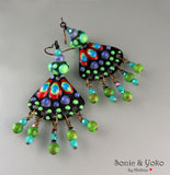 Made to Order ♥ Inka - Boho Chic - Handmade enameled lightweight torch fired Copper Art Earrings