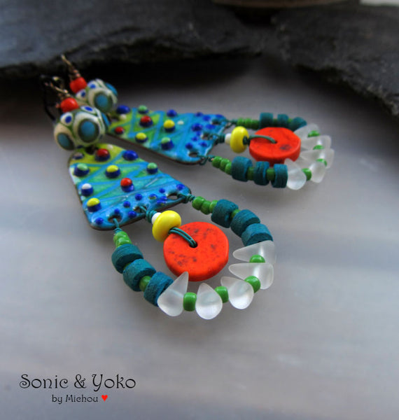 PaoPao- Boho Chic - Torch fired Copper Art Earrings