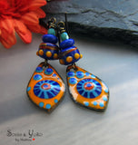 Dessert Blooming ♥ Handmade lightweight fire torched Copper Earrings